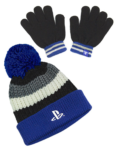ONESIZE PLAYSTATION GAMING HAT & GLOVES  - The children's PlayStation accessories come in one size that is suitable for most. The PlayStation gloves and hat come in a knit style making the set super comfortable perfect for keeping your head and hands warm.