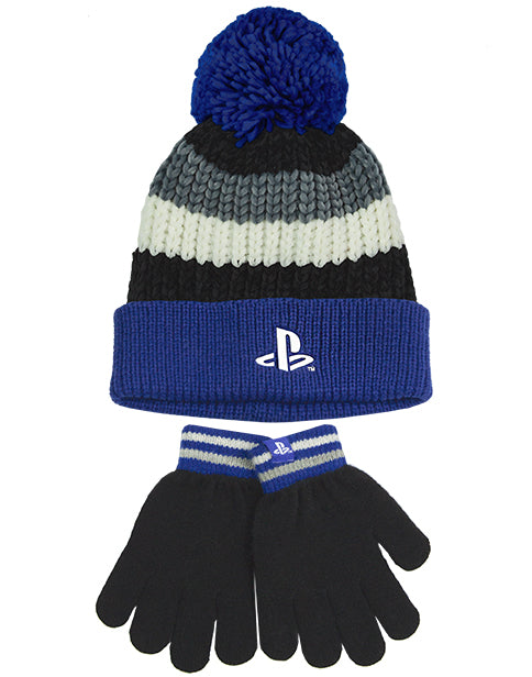 PlayStation Kids Bobble Hat & Gloves Set | Blue Grey Knitted Beanie Gamer Gift For Boys & Girls | Children Game Merchandise One Size Winter Hat