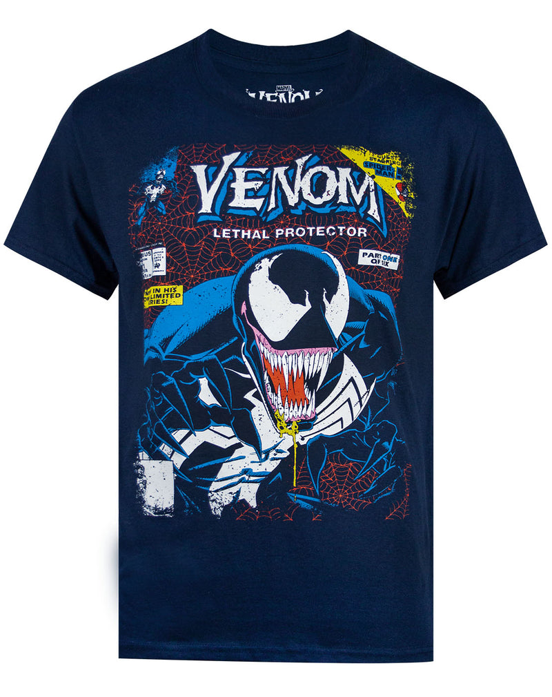 Marvel Venom Comic Cover Men's Navy T-shirt