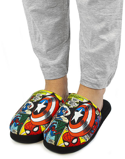 Marvel Avengers All Over Comic Print Multi-Coloured Men's Mule Slippers