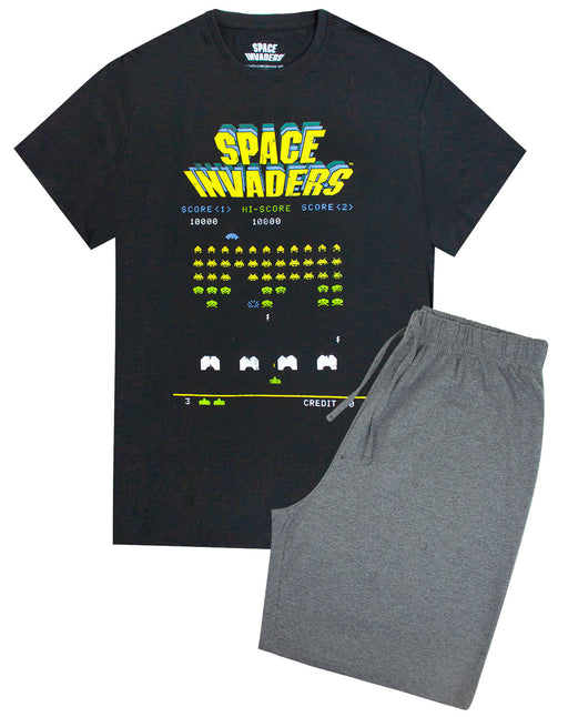 Space Invaders Retro Gaming Men's Pyjamas Shorts Lounge Set