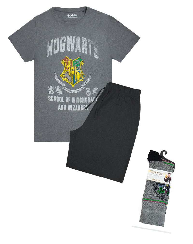 Harry Potter Hogwarts Crest Men's Lounge Shorts Set and Socks Gift Bundle