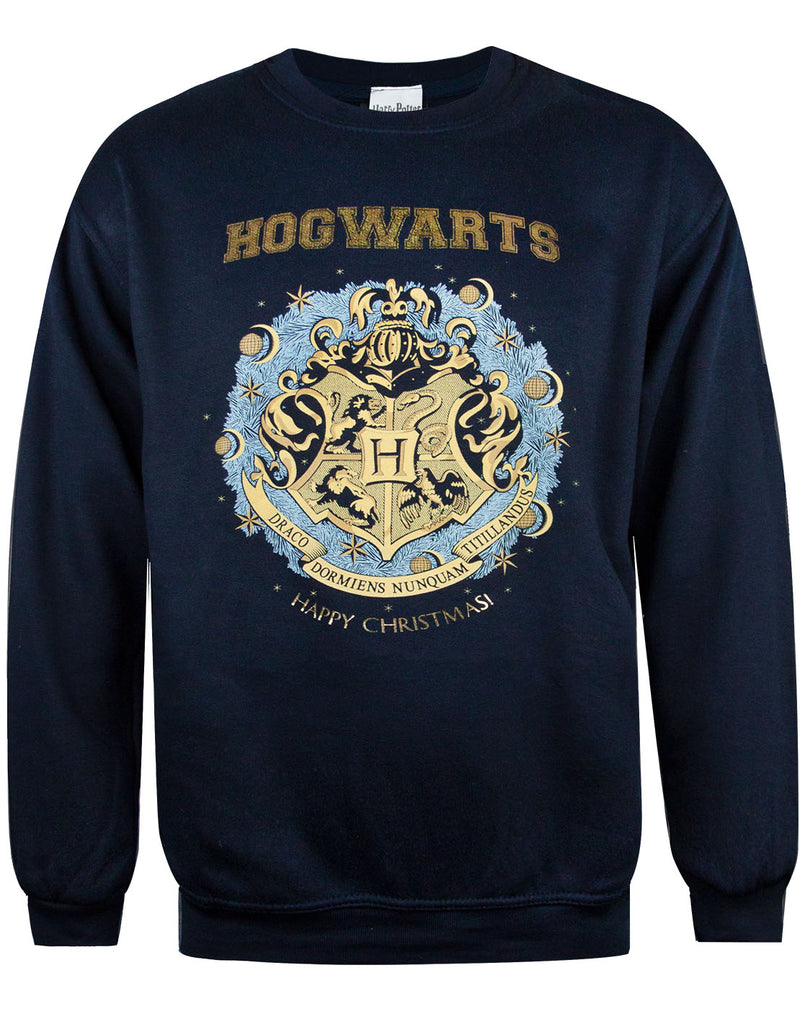 Harry Potter Hogwarts Christmas Foil Dark Blue Sweatshirt