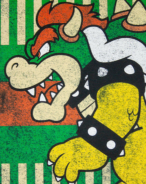 Super Mario Vintage Bowser Japanese Poster Mens T-Shirt