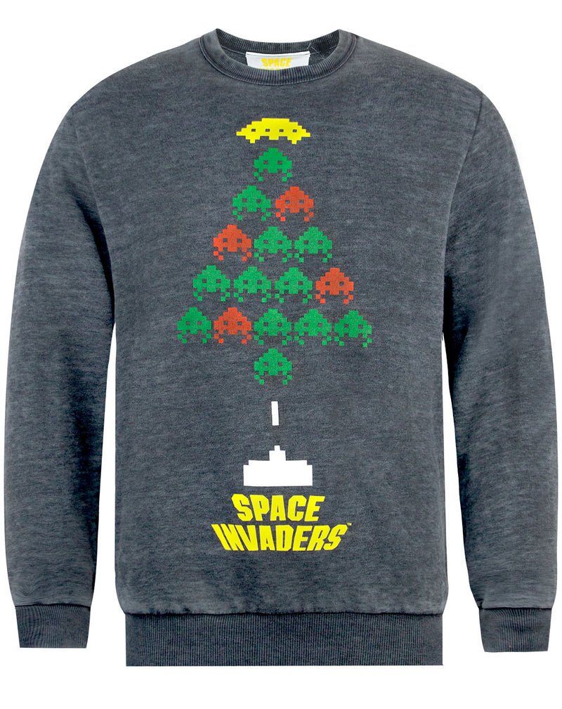 Space Invaders Christmas Tree Burnout Sweatshirt