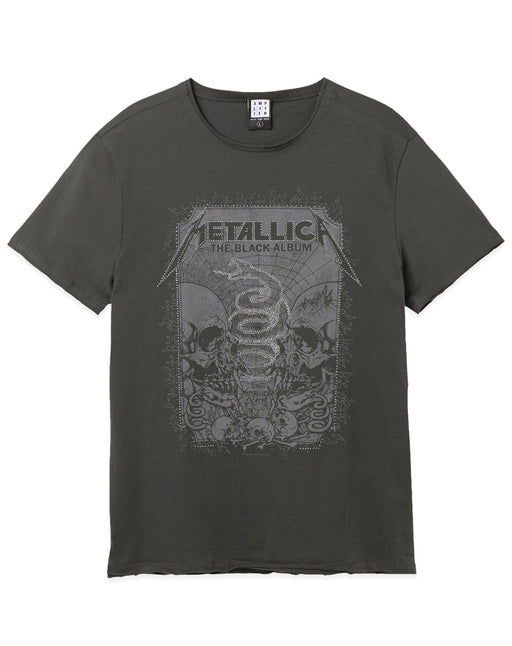 Amplified Metallica The Black Album Skull Snake Diamante Men's Charcoal T-Shirt