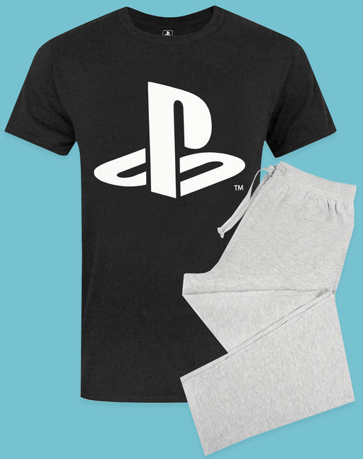 PlayStation Logo Men's Gaming Pyjama T-Shirt & Lounge Pant Set