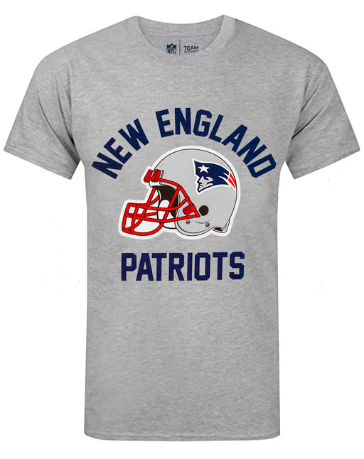 NFL Teams New England Patriots Helmet Men's Grey Short Sleeve T-Shirt