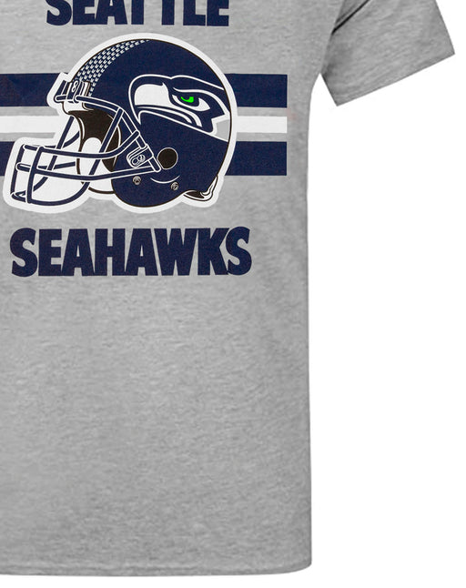 NFL Teams Seahawks Helmet Men's Grey Short Sleeve T-Shirt