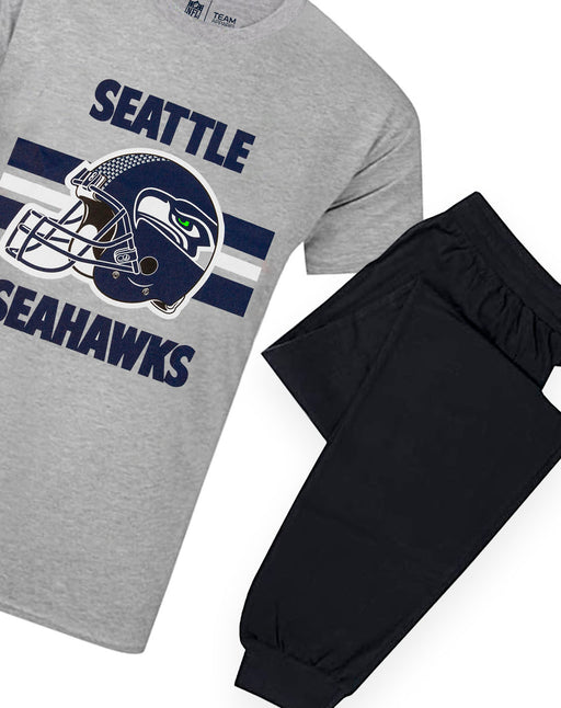 NFL Teams Seahawks Helmet Men's Long Pyjama T-Shirt & Lounge Pant Set