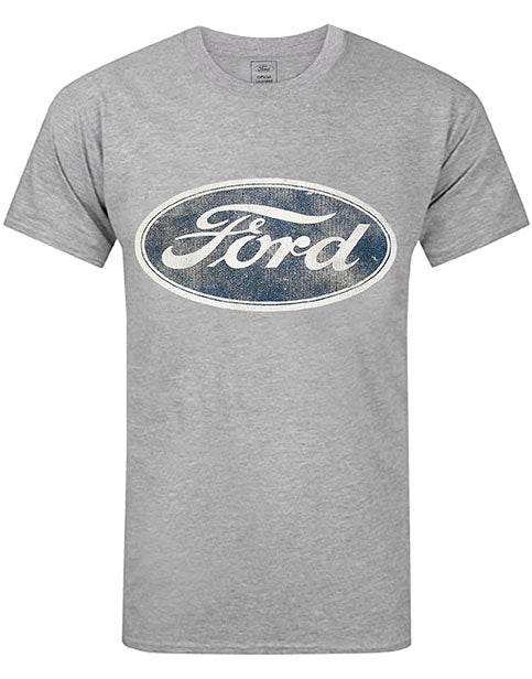 Ford Logo Men's Grey T-Shirt - Distressed Vintage Style Adults Top