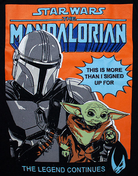 BABY YODA & MANDALORIAN POSTER TEE - The Madalorian poster top for men features the much-loved characters Baby Yoda and the Mandalorian in a bold multicoloured print with a humorous quote 'THIS IS MORE THAN I SIGN UP FOR' making this Star Wars tee a must have Star Wars gift for birthdays, Christmas and special occasions!