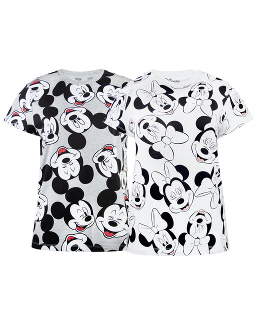Disney Mickey and Minnie All Over Print Women's T-Shirt 2 PK Bundle