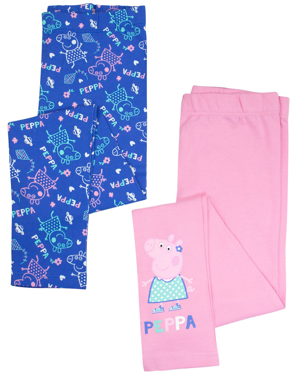 Peppa Pig Girls Blue & Pink Leggings 2 Pack 1 to 6 Years