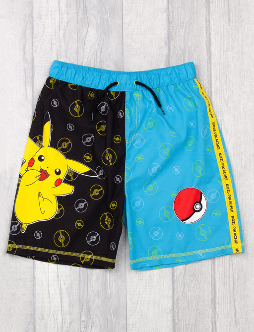 Pokemon Swim Shorts For Boys | Black & Blue Pikachu Swimwear Kids & Teens | Gamer Swimming Pants Trunks With Drawstring Waistband