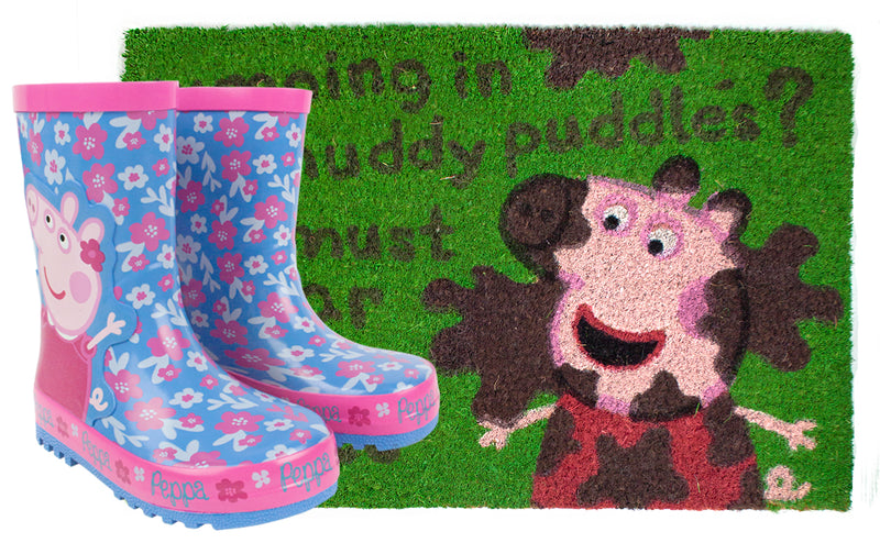 Peppa Pig Muddy Puddles Wellies and Door Mat Gift Set Bundle