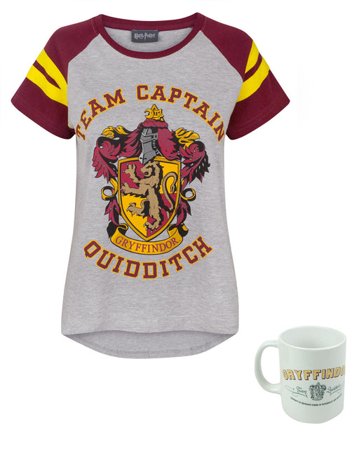 Harry Potter Quidditch Team Captain Women's Top and mug Gift Set Bundle