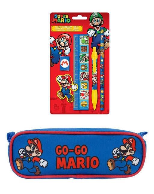 Nintendo Super Mario 5 Piece Stationary Pack and Pencil Case Set