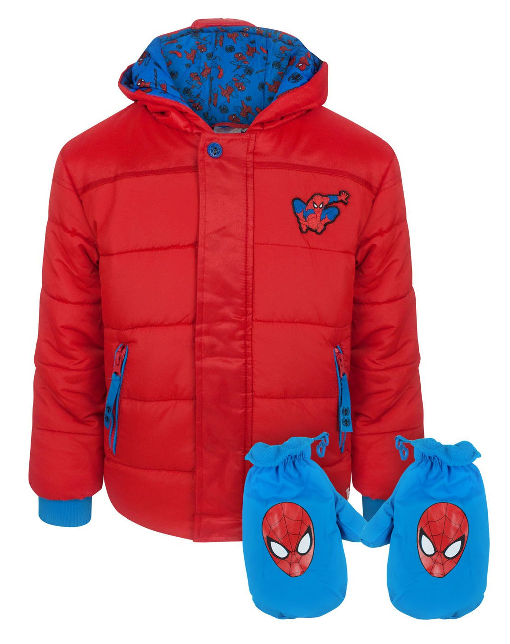 Spider-Man Boy's Red Coat and Mittens Set
