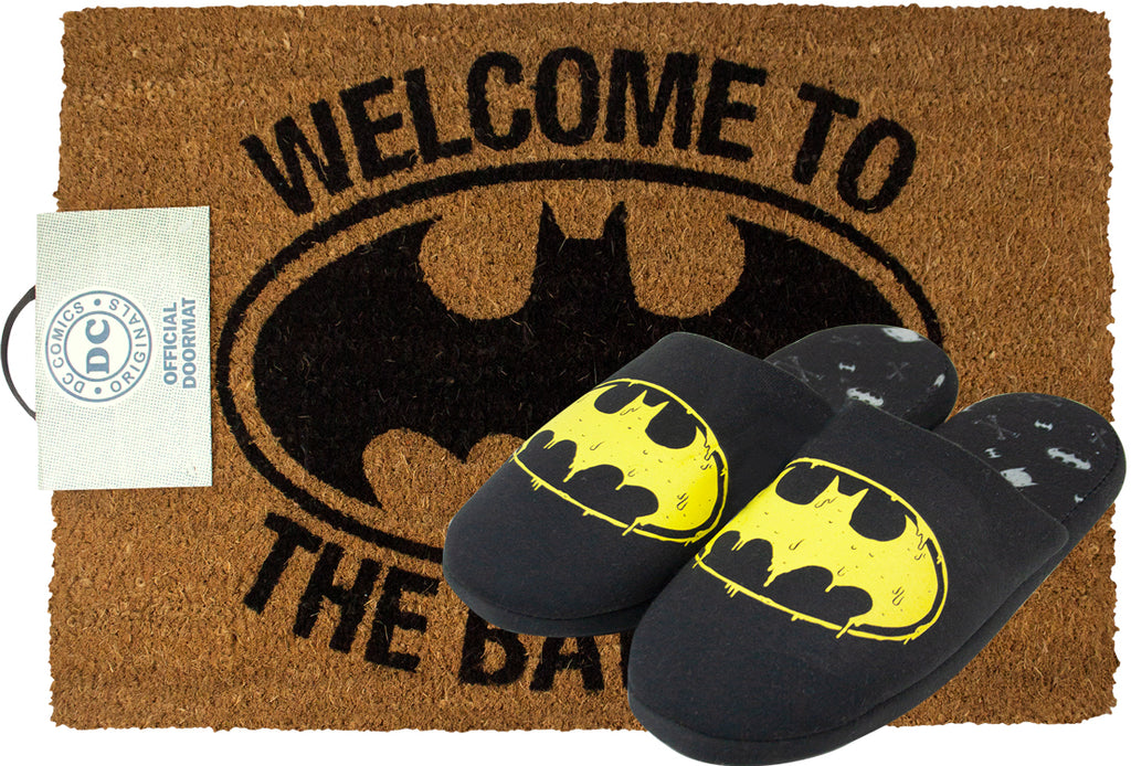 Batman Logo Slippers and Door Mat Gift Set Bundle