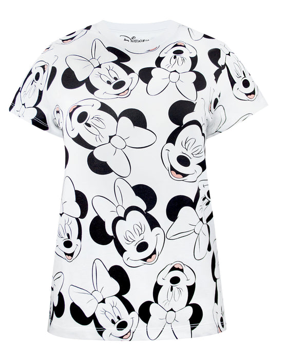 Disney Minnie Mouse Character All Over Print Women's Boyfriend Fit T-Shirt
