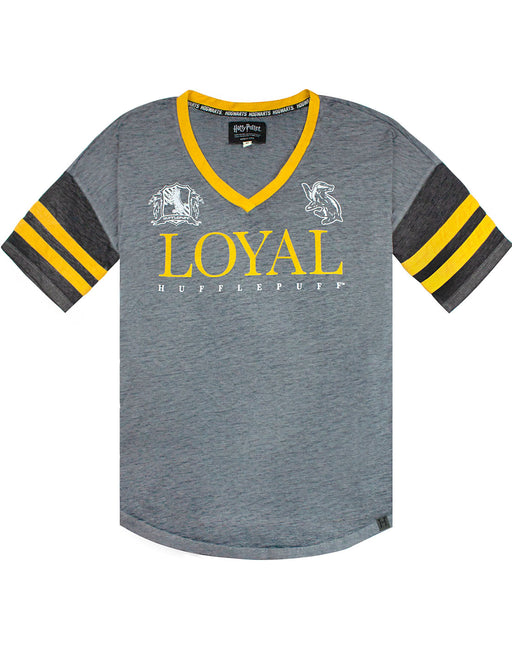 Harry Potter Hufflepuff Loyal Womens/Ladies Varsity T-Shirt Sizes S-XL