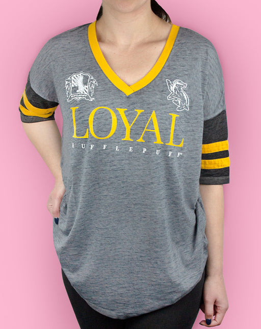 Harry Potter Hufflepuff Loyal Womens/Ladies Varsity T-Shirt Sizes