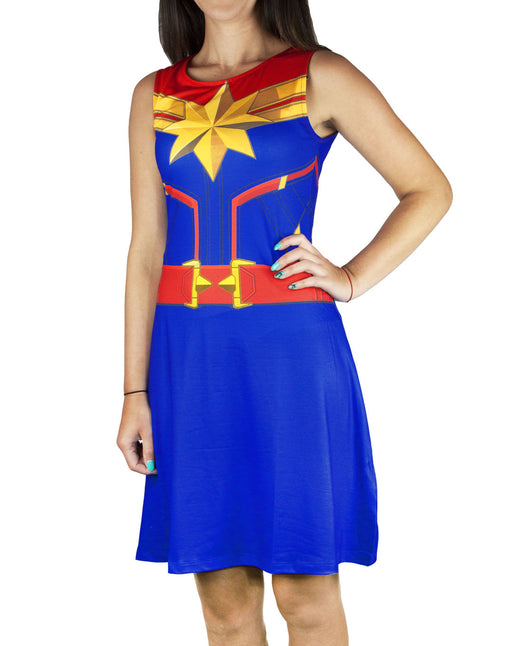 Captain Marvel Costume Women's Costume Dress Ladies Fancy Dress Party Cosplay