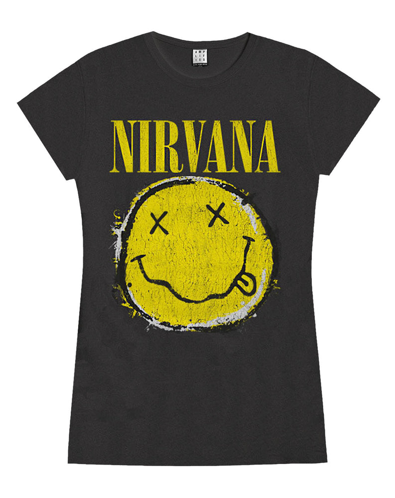 Amplified Nirvana Worn Out Smiley Womens T-Shirt