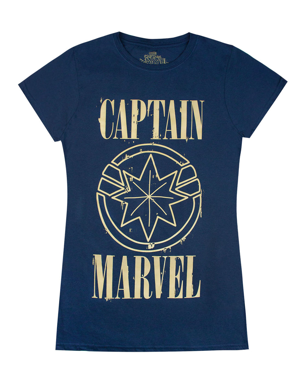 Marvel Captain Marvel Print And Shield Womens Navy T-Shirt