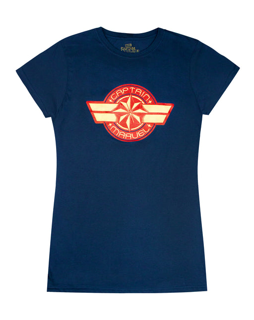 Marvel Captain Marvel Logo Womens Navy T-Shirt