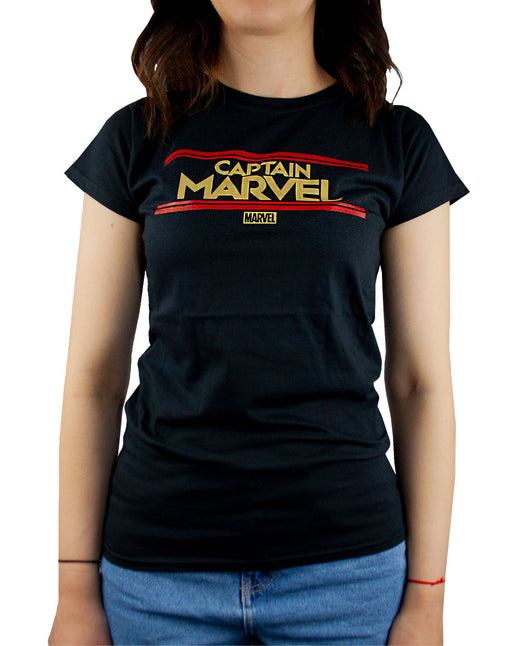 Marvel Captain Marvel Letters Womens Black T-Shirt