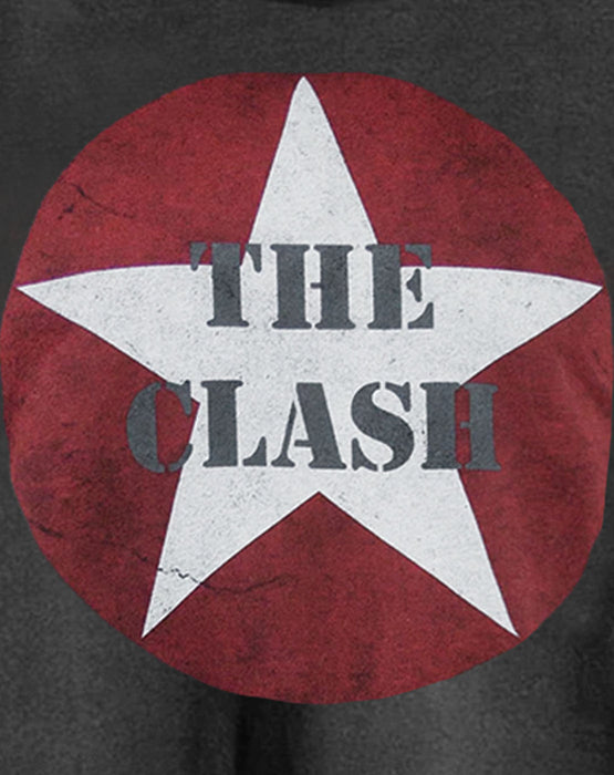Amplified The Clash Logo Charcoal Women's Ladies Cropped Tee T-Shirt