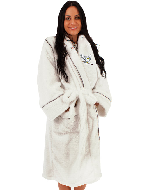 LUXURY HARRY POTTER HEDWIG BATHROBE FOR LADIES - Harry Potter dressing gown has long sleeves, a cosy hooded neck, two handy pockets and a tie waist belt for women; is it the perfect Harry Potter gift for all fans of the classic J. K. Rowling novels and the Warner Bros movies.