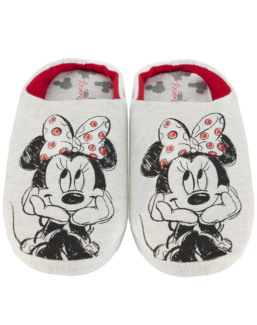 Disney Minnie Mouse Sketch Women's Slippers Slip-On Grey House Shoes