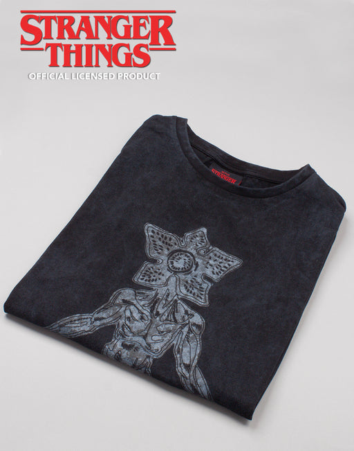 Netflix Stranger Things Acid Wash Women's Tshirt - Charcoal