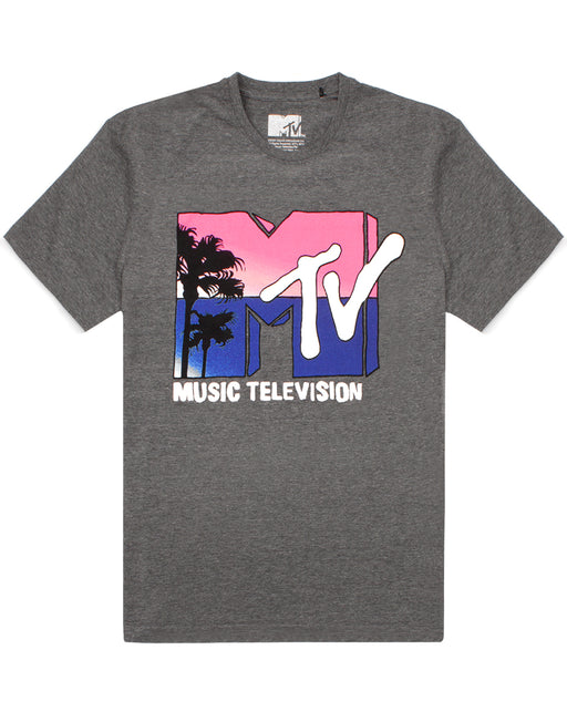 MTV T-Shirt For Women Music Television Palm Tree Logo Gift Ladies Grey Top