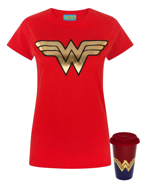 Wonder Woman Logo Women's T-Shirt and Travel Mug Gift Set Bundle