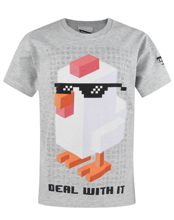 Crossy Road Chicken Deal With It Grey Boy's T-Shirt