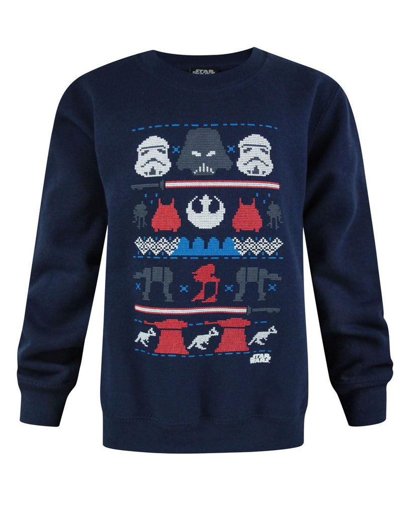 Star Wars Dark Side Fair Isle Christmas Boy's Sweatshirt