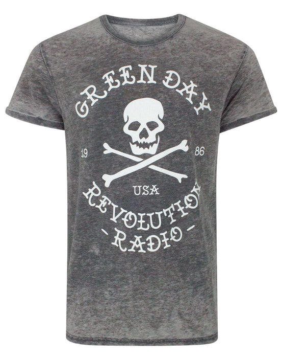 Green Day Revolution Radio Skull Cross Bones Men's Burn Out T-Shirt