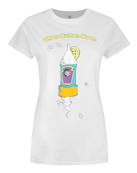Button Moon Rocket White Women's T-Shirt