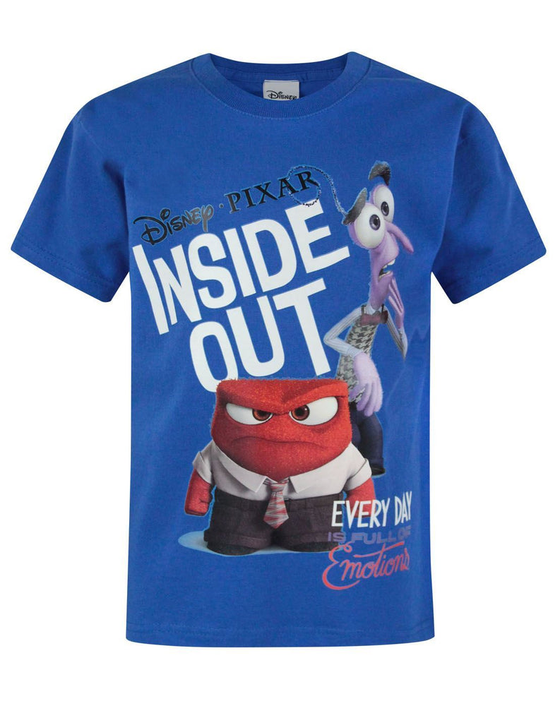 Inside Out Anger & Fear Blue Short Sleeve Boy's T-Shirt