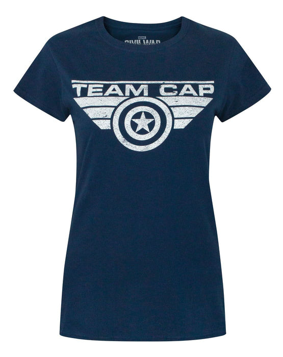 Captain America Civil War Team Cap Distressed Women's T-Shirt
