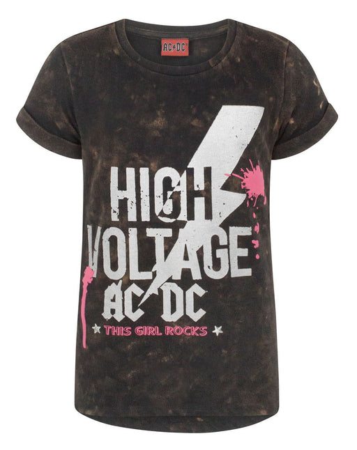 AC/DC High Voltage Girl's Acid Wash T-Shirt