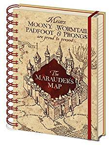 Harry Potter Hogwarts House Crests Pencil Case and Marauders Map Notebook Stationary Set
