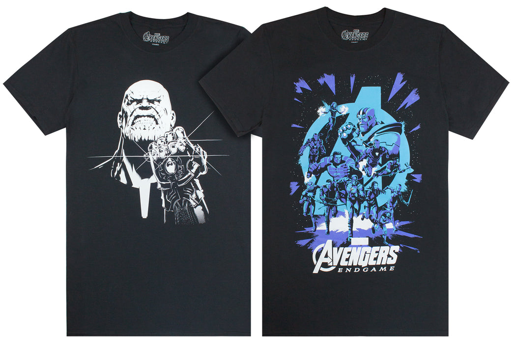 7635906daef6 Marvel Avengers End Game Thanos Monochrome Galactic Print Mens T-Shirt —  Vanilla Underground