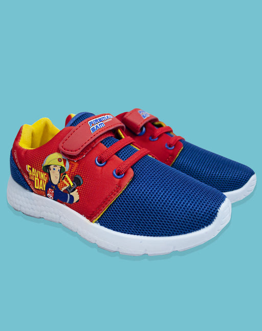 Fireman Sam Boy's Kids Blue Red Casual Trainer Shoes