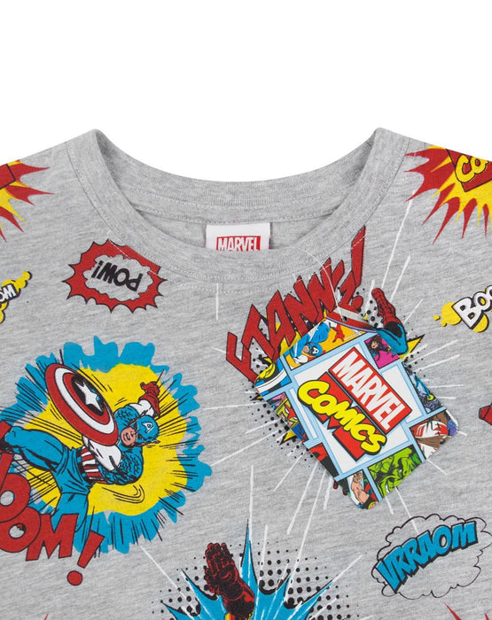 Marvel Comics All Over Print Boy's T-Shirt - Grey