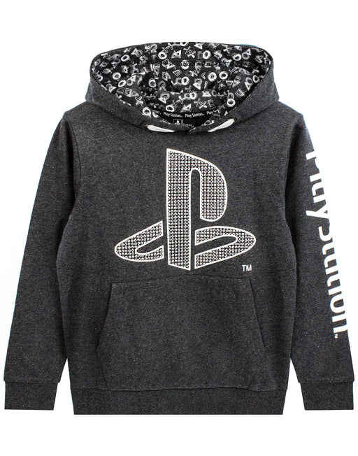 PlayStation Logo Hoodie Boy's Gamer Hooded Long Sleeve Kids Charcoal Sweatshirt